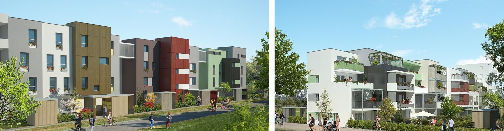Les terrasses du Colisée à Dijon, appartement neuf ecoquartier Dijon, immobilier neuf écoquartier dijon